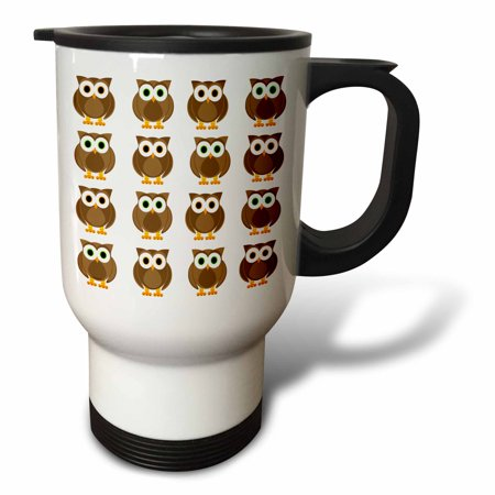 3dRose Brown Owls Print, Travel Mug, 14oz, Stainless Steel