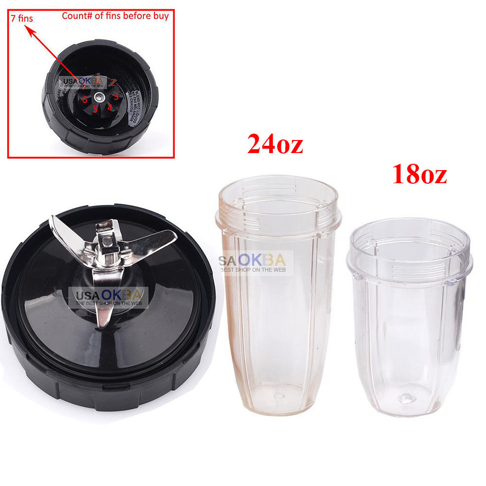 7 Fin Extractor Blade Assembly+18oz 24oz Cup for Nutri Ninja Blender Auto iQ BL487 BL492 BL490 BL491 486