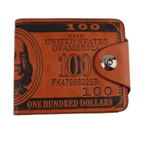 Brown Billfold - USA $100 Bill Benjamin Franklin Wallet With Safety Snap Men's Brown Color Billfold Larger Size, 100DW-1