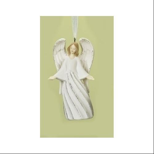 """4"""" Sparkling Whites Glitterd Swirl Porcelain Welcoming Angel Christmas Ornament"""