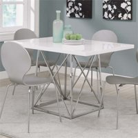 """Monarch Dining Table 36""""X 48"""" / White Glossy / Chrome Metal"""