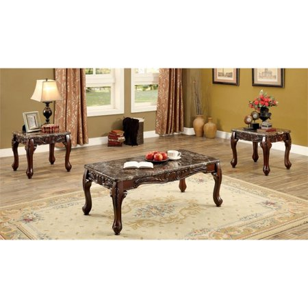 Furniture of America Railene Traditional 3 Piece Table Set in Brown