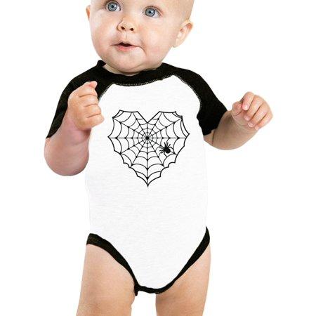 Halloween Fun 365 (365 Printing Heart Spider Web Cute Halloween Onesie Baby Baseball Onesie)