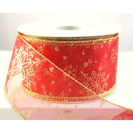 Wire Edged Sheer Red and Gold Snowflake Christmas Ribbon 2 1/2