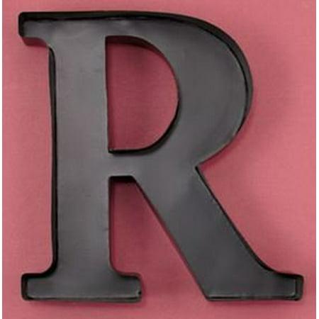 Monogram Letter R Wall Wine Cork Holder in Black Metal