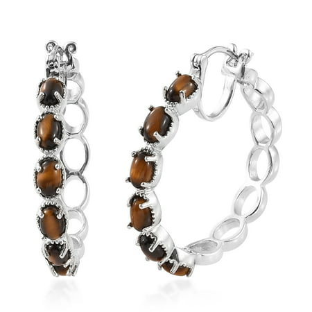 Platinum Oval Tigers Eye Fashion Hoops, Hoop Earrings for Women Jewelry Gift Comfort Fit Platinum Earrings