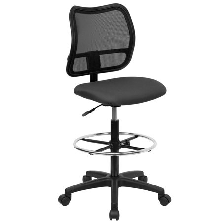 A Line Furniture Office Armless Ventilated Black Mesh Back/Grey Fabric Seat Drafting Chair
