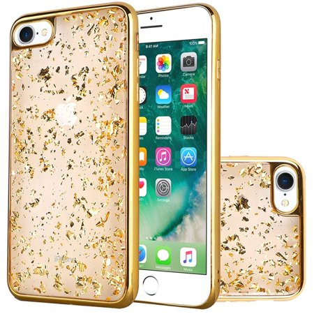 HR Wireless Frozen Glitter Dual Layer Hybrid Hard Snap-in Case Cover For Apple iPhone 7/8, Gold