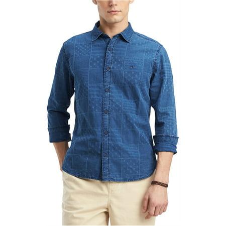 Tommy Hilfiger Mens Patchwork Print Button Up Shirt Patchwork Camp Shirt
