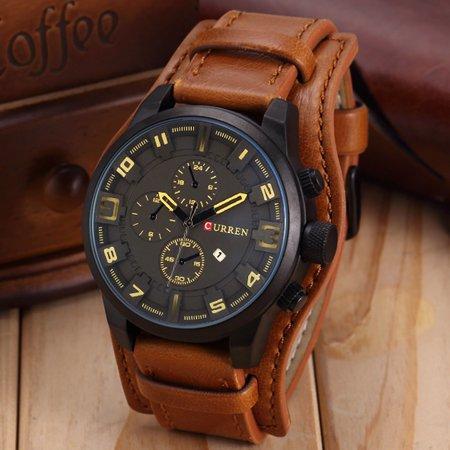 Fashion Curren Men Date Stainless Steel Leather Analog Quartz Sport Wrist Watch-coffee Analog Date Wrist Watch