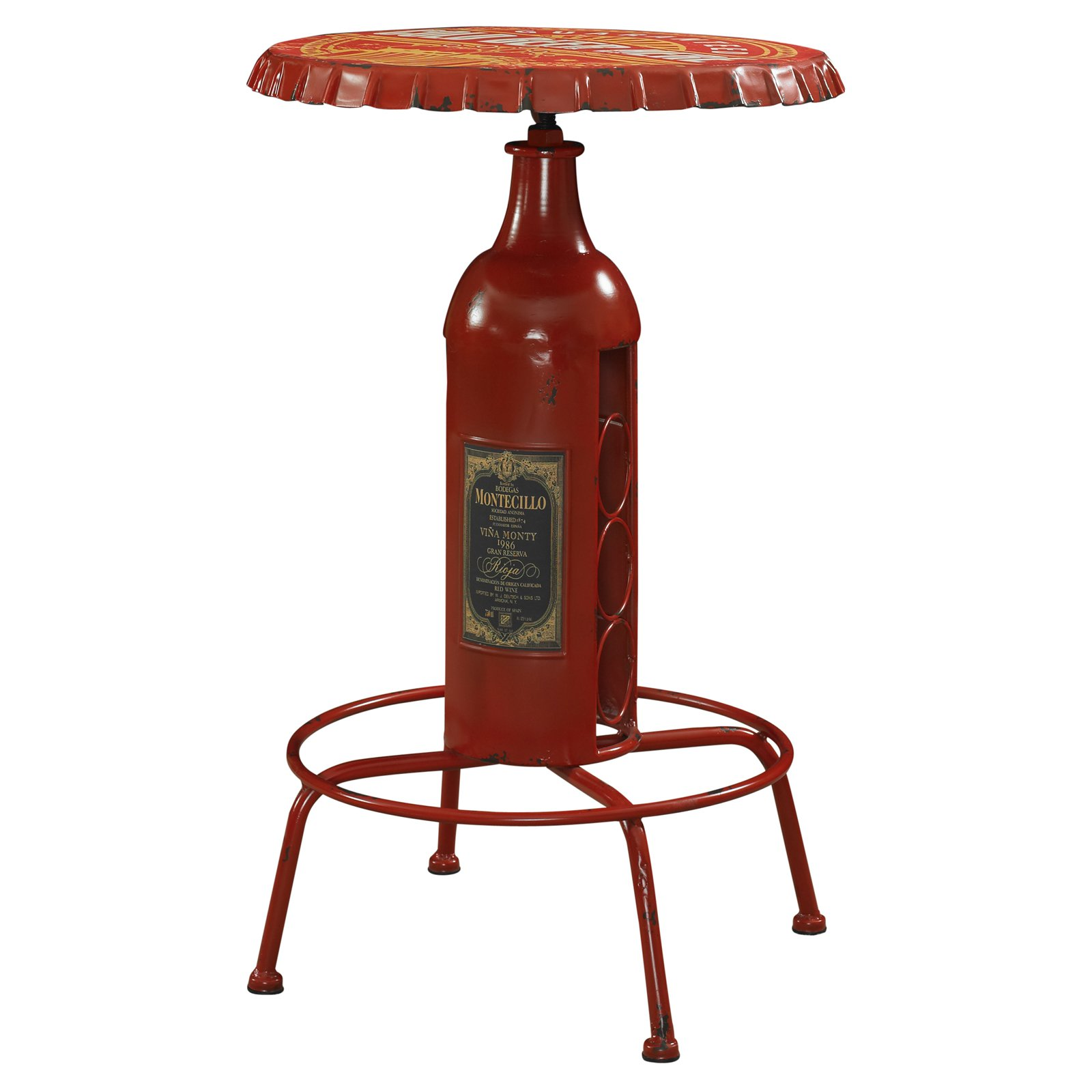 Bottle Design Pub Table, Red by L. Powell Acquisition Corp.