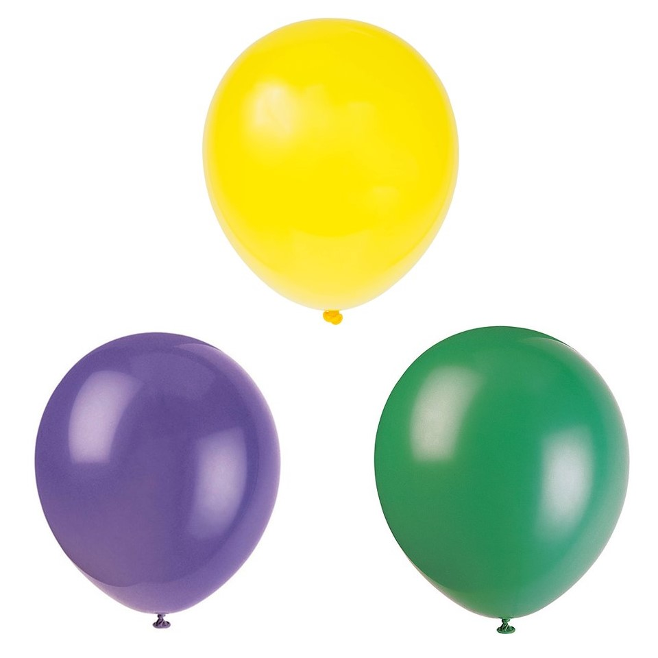 Mardi Gras Latex Balloons, Purple, Yellow, & Green, 12in, 30ct