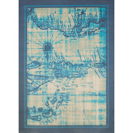 United Weavers Panama Jack Island Breeze Explorer Nautical Aqua Woven Polypropylene Area Rug