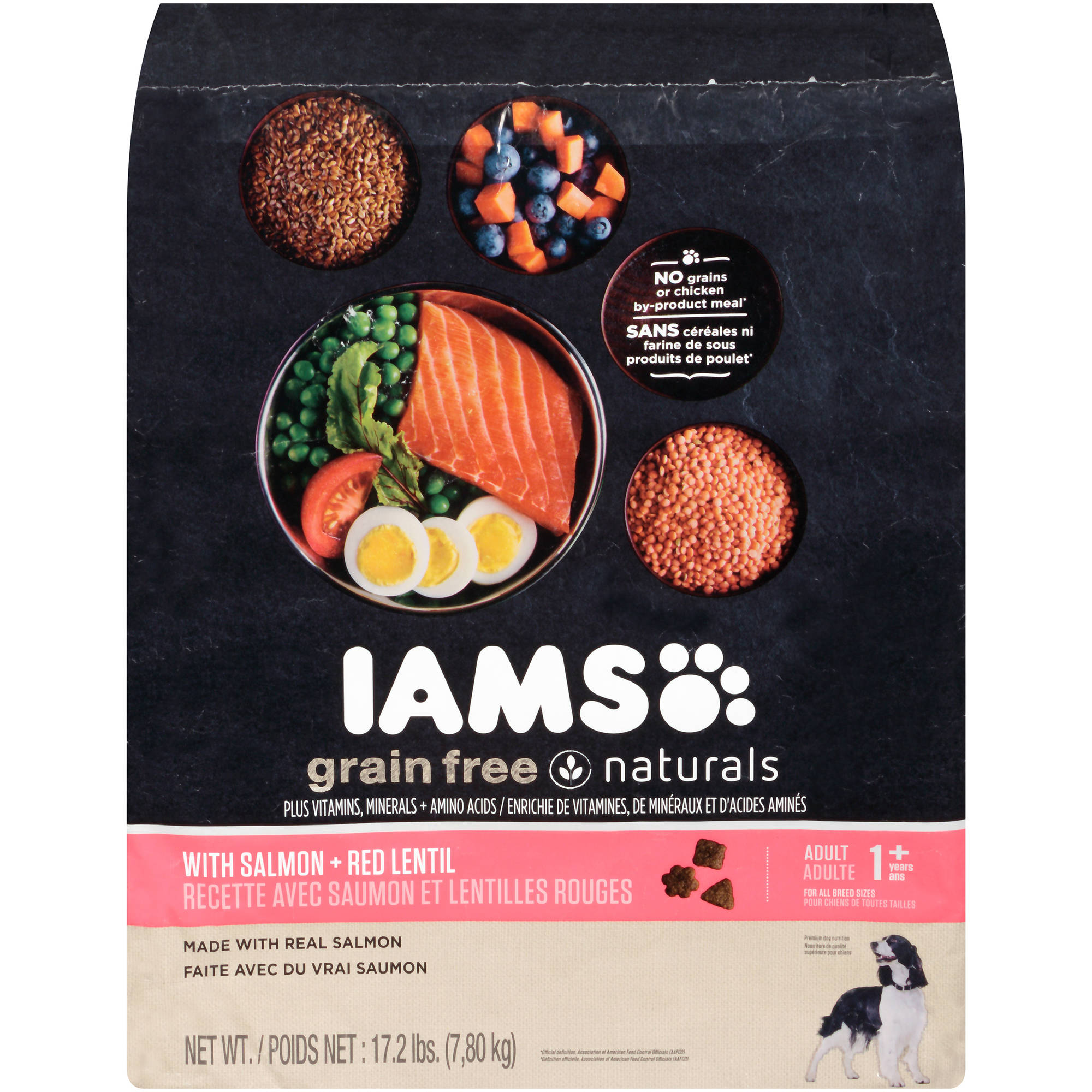 Iams Grain Free Naturals with Salmon + Red Lentil Adult 1+ Years Dog Food 17.2  lb. Bag