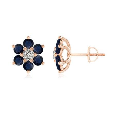 9e22eaf1569 Women s Day Sale - Six Petal Diamond and Sapphire Flower Stud Earrings in 14K  Rose Gold (2.7mm Blue Sapphire) - SE1085SD-RG-A-2.7