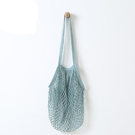 Reusable Fruit String Grocery Shopper Cotton Tote Mesh Woven Net Shoulder Bag Double Handle Shopper Tote