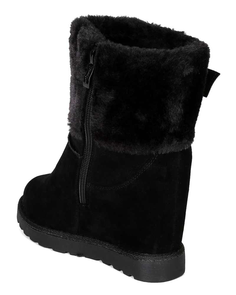 Nature Breeze BG36 Women Suede Fur Cuff Trim Shearling Wedge Bootie