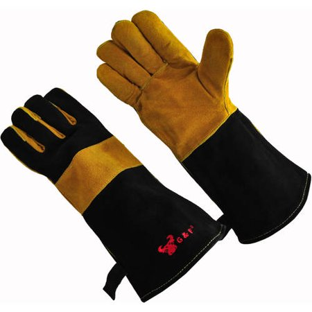 100 Percent Premium Suede Leather Palm Barbecue/BBQ Gloves with 14.5