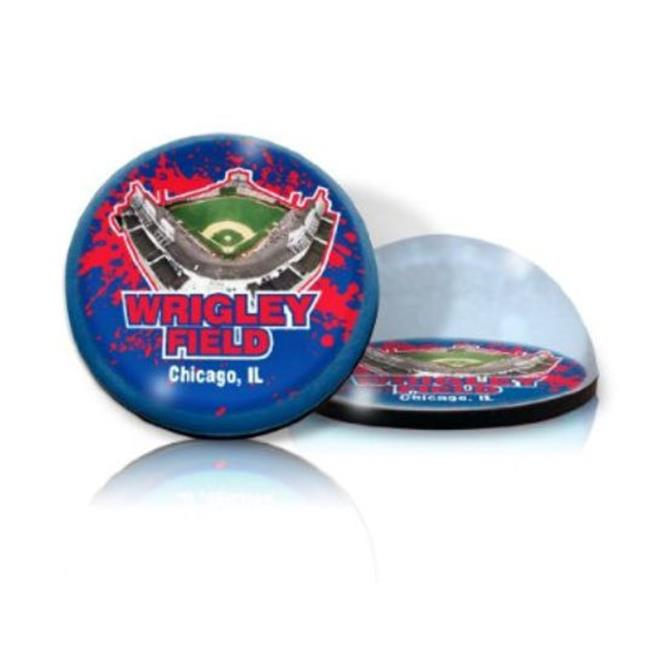 Paragon Innovations WrigleyRoundPPWeightSTADIUM Round crystal  magnetized paperweight with Wrigley Field image  giving a magnifying effect
