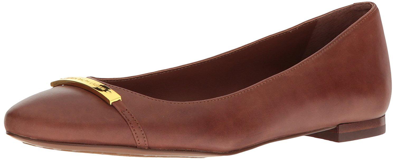 LAUREN by Ralph Lauren Womens Farrel Leather Closed Toe Slide Flats