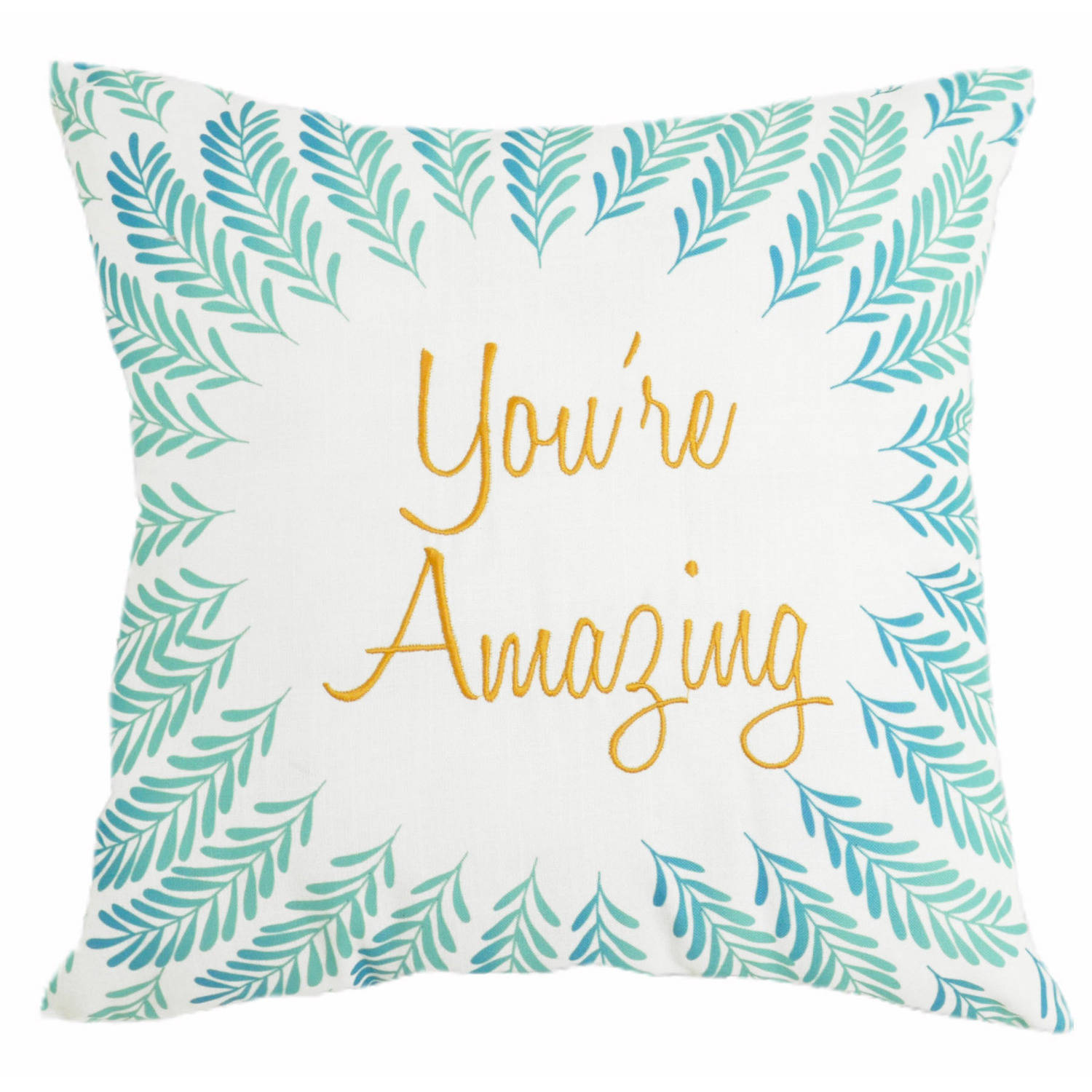 Formula You're Amazing and Triangles Reversible Print Decorative Pillow, Blue and White