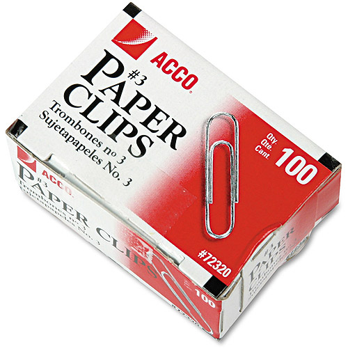 ACCO Smooth Economy Paper Clip, Steel Wire, No. 3, Silver, 100 Clips Per Box, 10 Boxes Per Pack