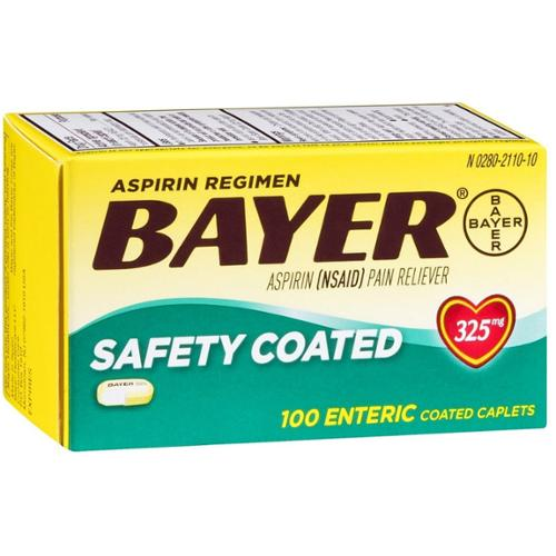 Bayer Aspirin Pain Reliever Safety Coated Enteric Caplets, 325 mg, 100 ea (Pack of 2)