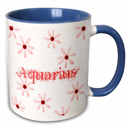 3dRose Red Aquarius Flowers - Two Tone Blue Mug, 11-ounce