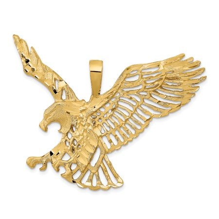 14k Yellow Gold Large Eagle Pendant Charm Necklace Bird Fine Jewelry Gifts For Women For Her - image 6 of 6