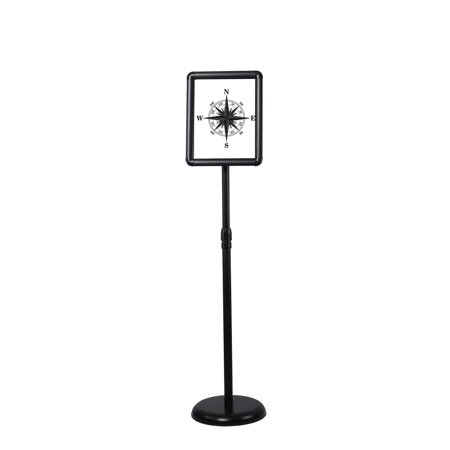 Floor Sign Stand Adjustable Pedestal Sign Holder Stand, Poster Stand Aluminum Snap Open Frame for 8.5X11 Inches with Heavy Round Base, Both Vertical and Horizontal Sign Displayed (Black) Black 8.5X11