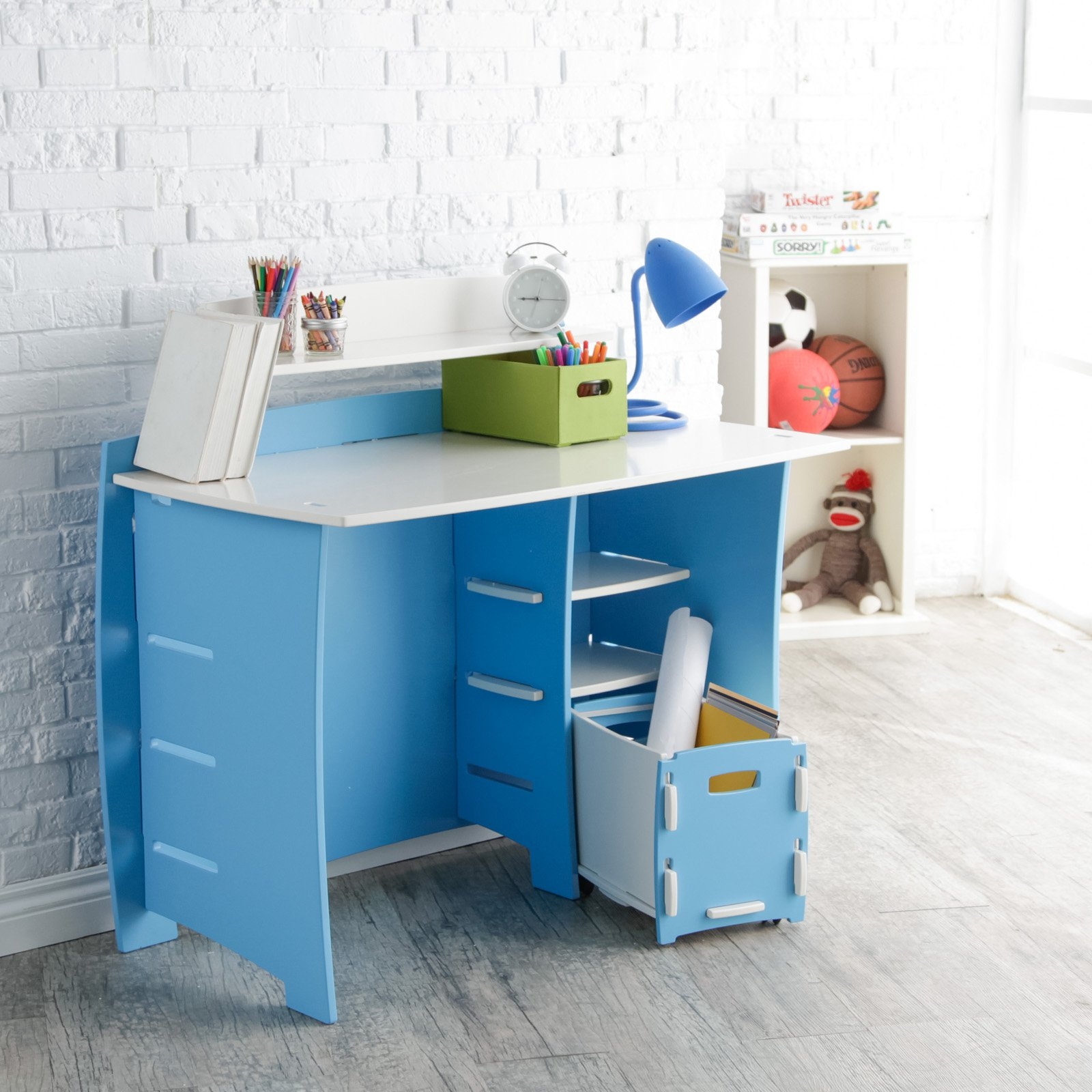 Legare 43 in. Desk with Shelf and File Cart - Blue and White