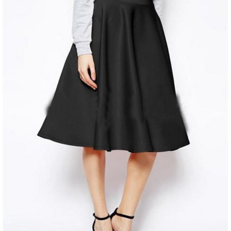 EFINNY Women Autumn A-Line Skirt High Waist All-match Casual Solid Loose Knee-Length (Solid Running Skirt)