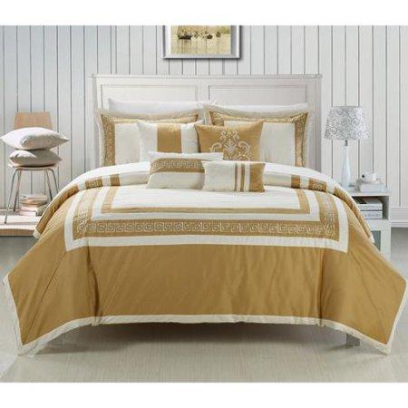 Venice 7 Piece Cotton Comforter Set Beige Gold Queen