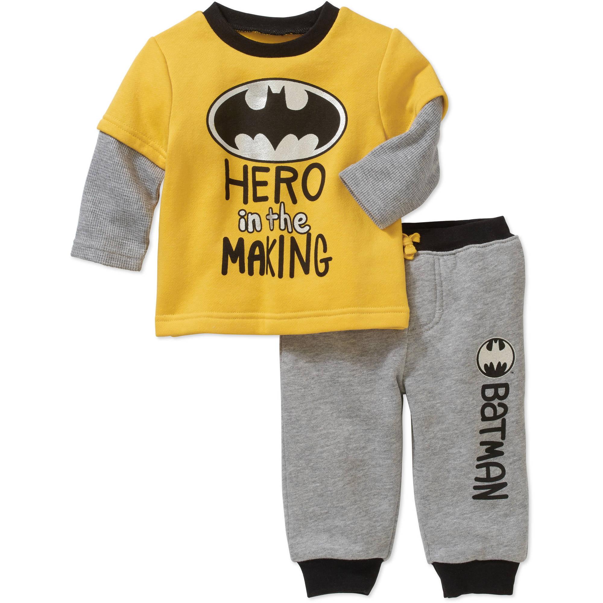 Batman Newborn Baby Boy Hangdown Long Sleeve T-Shirt and Pant 2pc Outfit Set by Generic