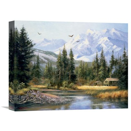Global Gallery Cabin In The Foothills By Bernard Willington Painting Print On Wrapped Canvas