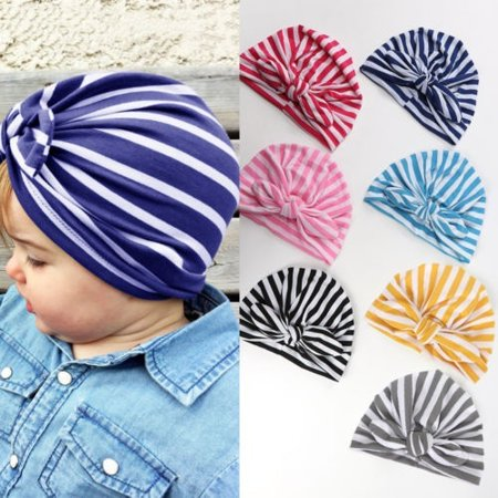 1PCS/Lot Boho Stripe Bonnet Hat Cap with Big Bow For Baby Girl Infant Newborn US