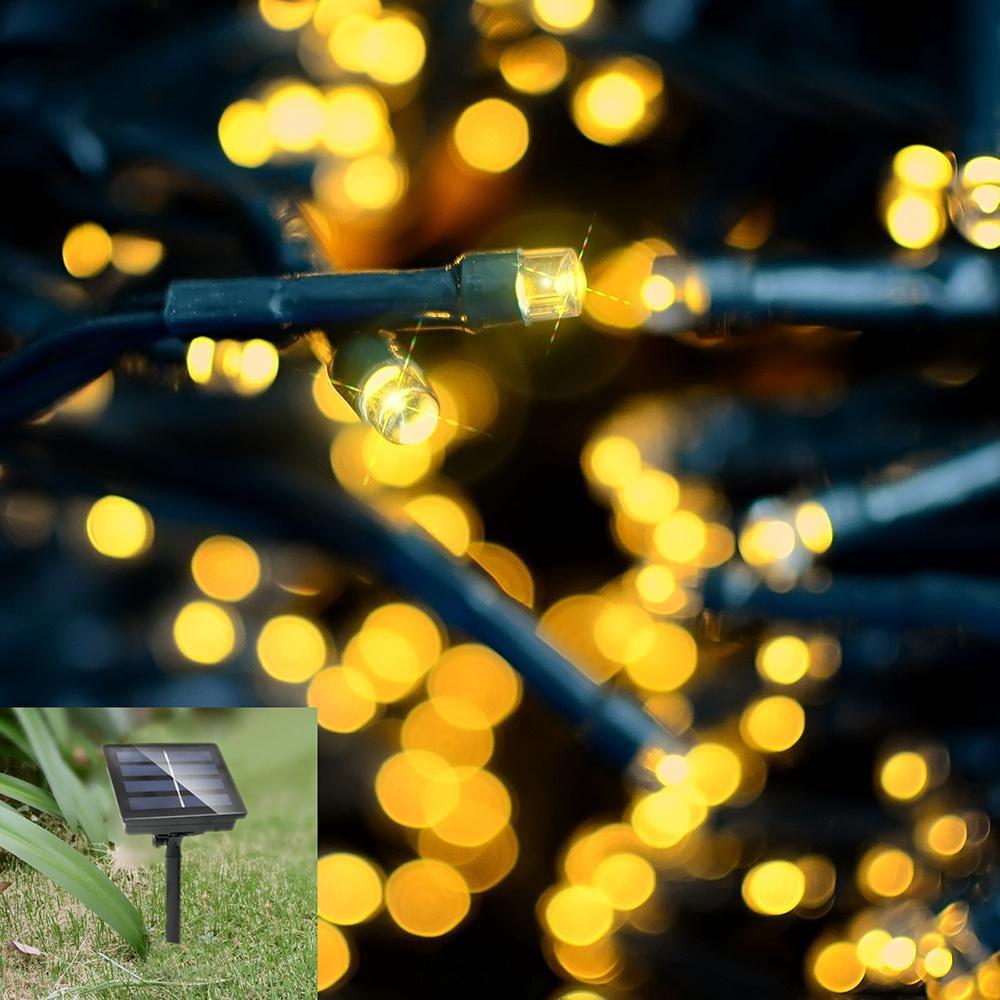 12M 100LED Christmas Solar Fairy LED String Lights Wedding Xmas Party Outdoor Decor Lamp