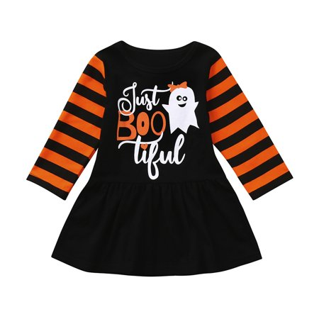 Mosunx Infant Toddler Baby Girls Ghost Cartoon Party Dress Halloween Clothes Dresses for $<!---->