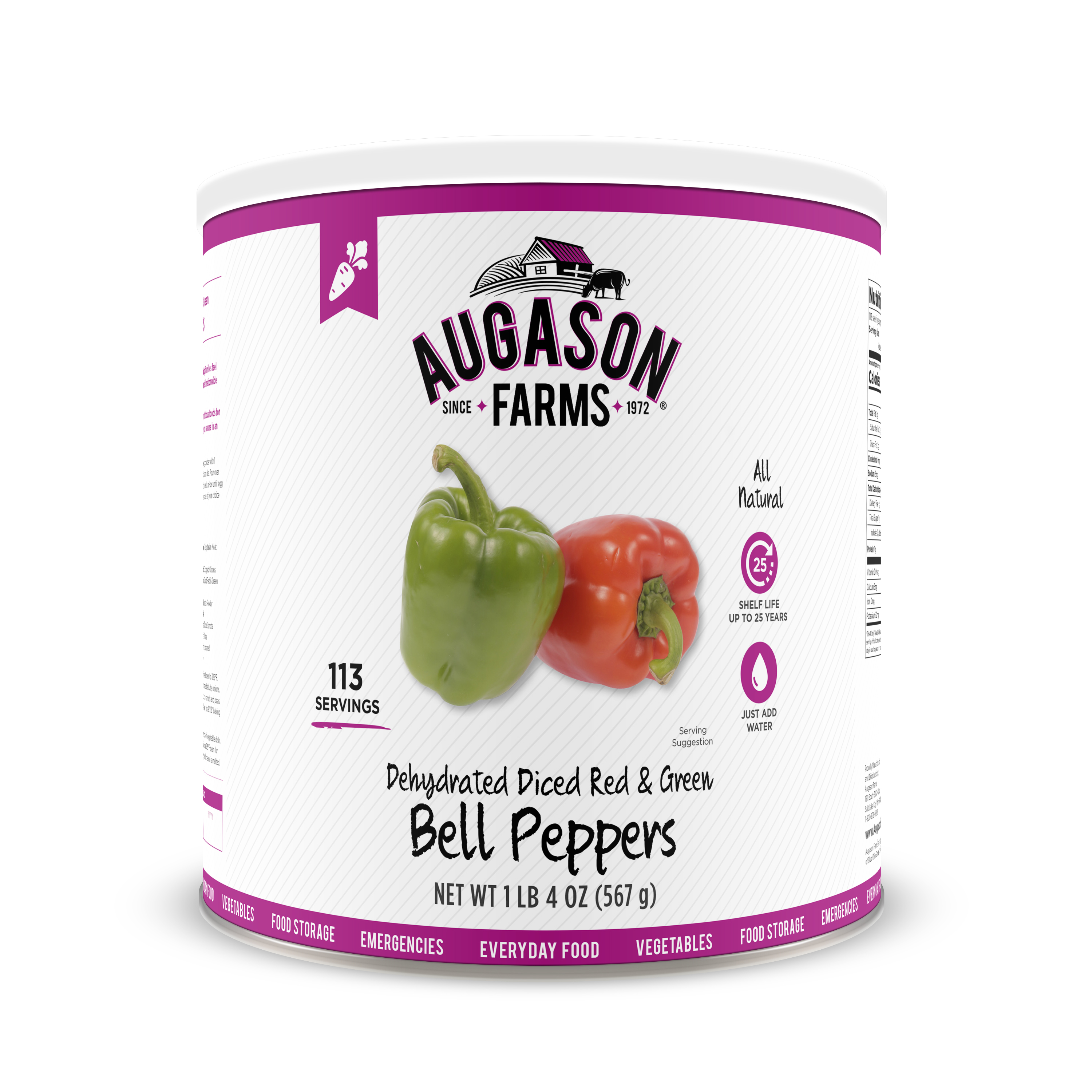 Click here to buy Augason Farms Dehydrated Diced Red & Green Bell Peppers 1 lb 4 oz No. 10 Can by Blue Chip Group.