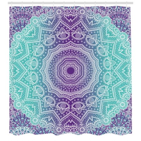 Purple And Turquoise Shower Curtain Hippie Ombre Mandala Inner Peace Meditation With Ornamental Art