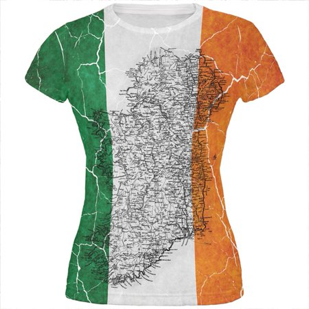 fa5a54876 Old Glory - St Patrick's Day Vintage Irish Map Flag Distressed All Over  Juniors T Shirt - Walmart.com
