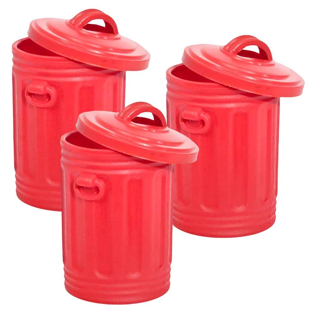 Set of 3 Red Trash Cans for Wrestling Action Figures