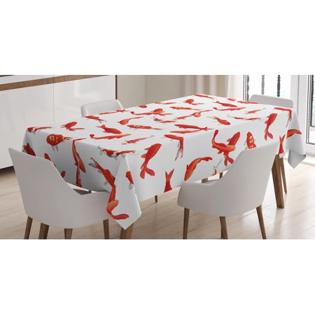 Ocean Animal Decor Tablecloth, Decorative Eastern Exotic Koi Fish Common Carp Calming Water Garden Graphic , Rectangular Table Cover for Dining Room Kitchen, 52 X 70 Inches, Red, by Ambesonne - Fishnet Tablecloth