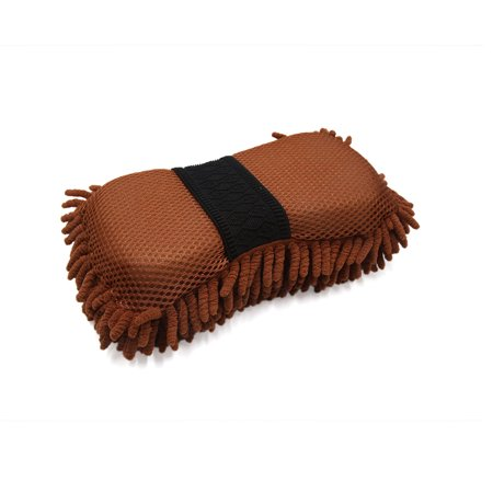25 x 13 x 6.5cm Coffee Color Microfiber Chenille Washing Cleaning Sponge for Car