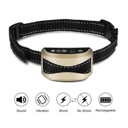 WALFRONT Harmless Shock or No Beep / Vibration / 7 Levels Sensitivity Rechargeable Electric Shock Control Adjustable Collar for Small Medium Large Dogs,Dog