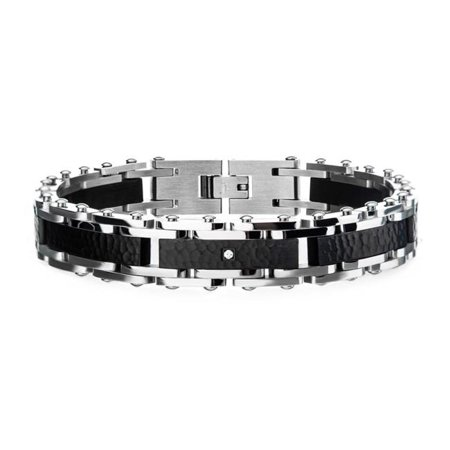 Inox BR28312KS 8.25 in. Mens Two Tone Steel, Black Hammered Bracelet with CZs with Self-Adjustable Link