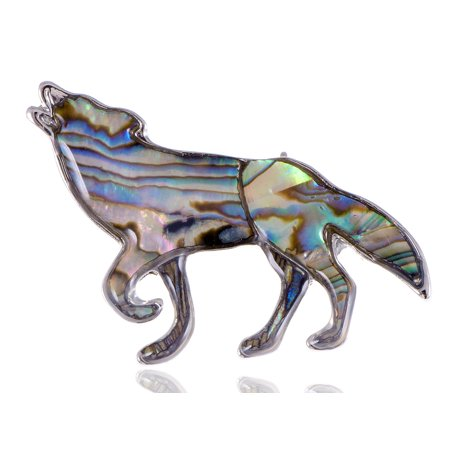 Howling Native Mountain Indian Wolf Coyote Profile King Abalone Shell Pin Brooch
