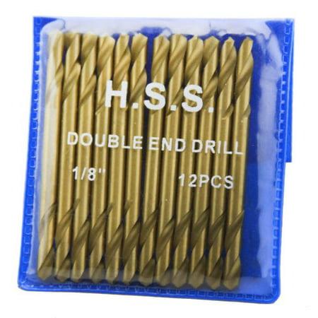 "XtremepowerUS 12Pc 1/8"" HSS Double End Titanium Drill Bit H.S.S DBL Head"