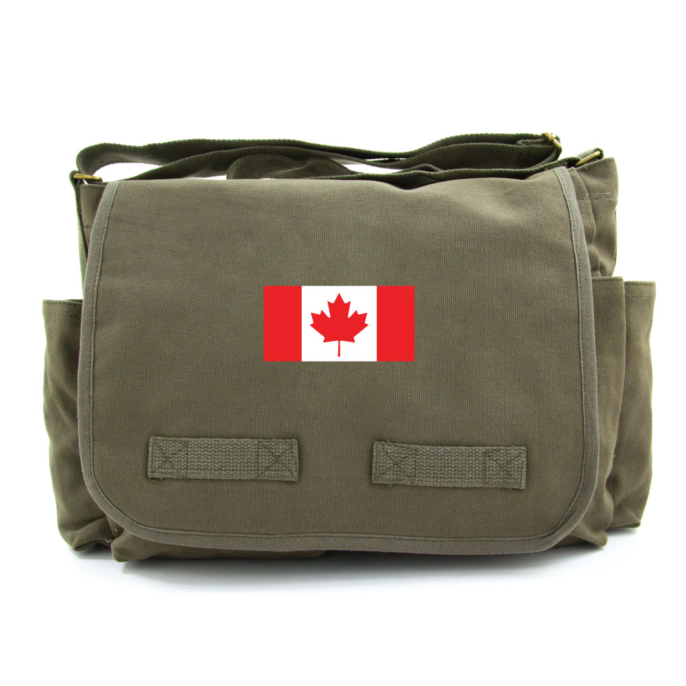 Canadian Flag Army Heavyweight Canvas Messenger Shoulder Bag