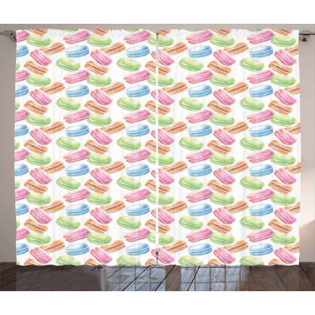 Dessert Curtains 2 Panels Set, Pastel Macaron Watercolor Pattern Pistachio Raspberry Pumpkin Cinnamon Blackberry, Window Drapes for Living Room Bedroom, 108W X 108L Inches, Multicolor, by Ambesonne (Raspberry Room)